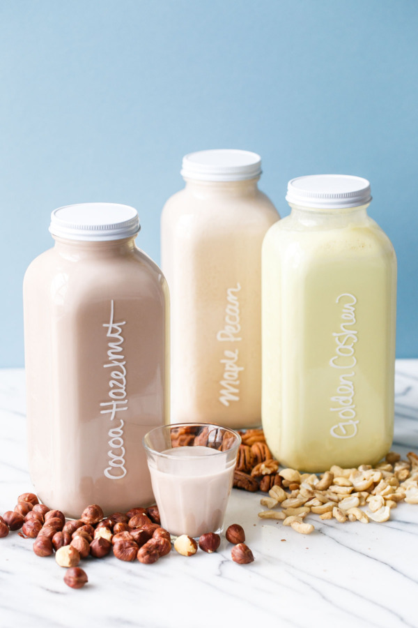 Homemade Nut Milks with just about any kind of nut, plus fun flavor variations!