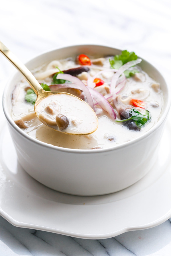 This Slow Cooker Tom Kha Gai Recipe is just as good as your favorite Thai restaurant!