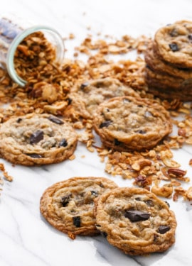 Granola Chocolate Chip Cookies with Homemade Honey Granola Dried Cherries