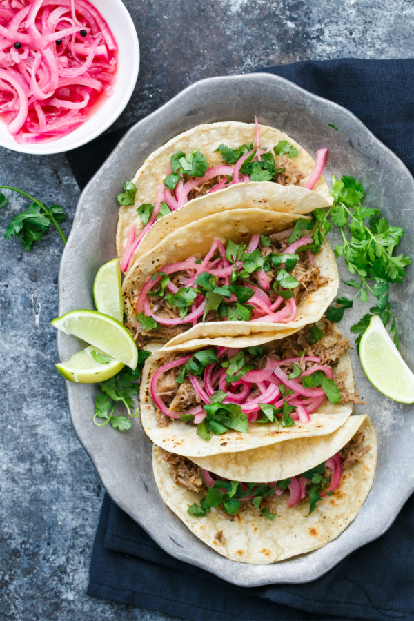 Slow-Cooker Pineapple Pulled Pork Tacos with Cilantro and Quick Pickled Onions