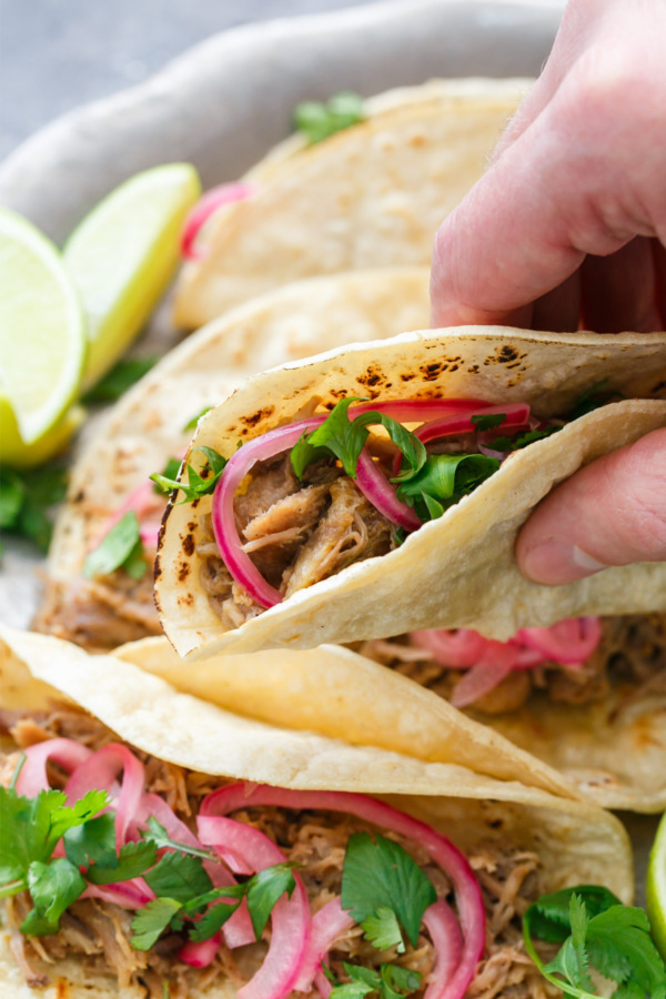 Slow-Cooker Pulled Pork Tacos with Quick Pickled Onions