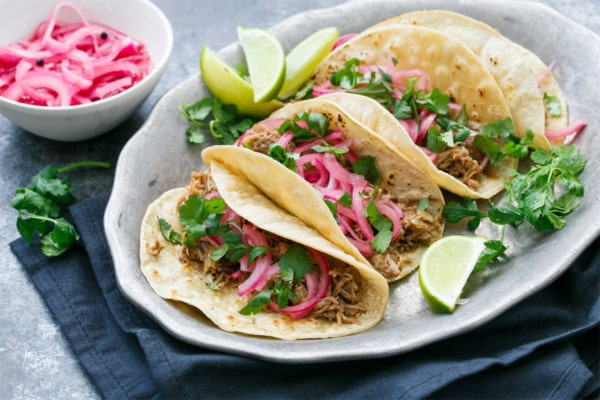 Pulled Pork Tacos with Quick Pickled Onions