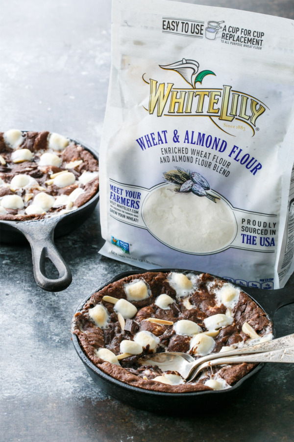 Molten Rocky Road Skillet Cookies made with White Lily® Premium Almond Flour Blend