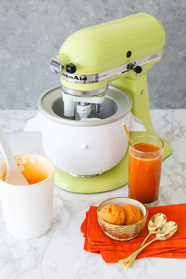 Thai Tea Ice Cream using the KitchenAid Ice Cream Maker attachment