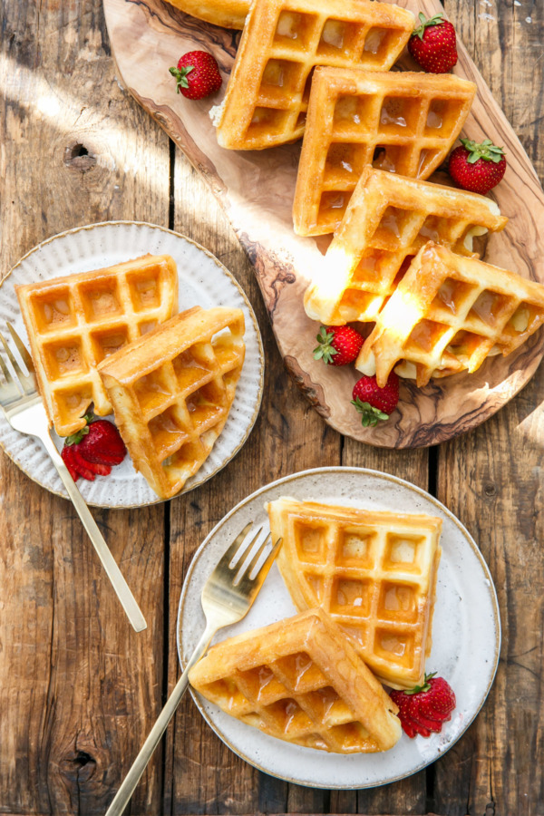 Yeast Raised Belgian Donut Waffles with Vanilla Bean Glaze