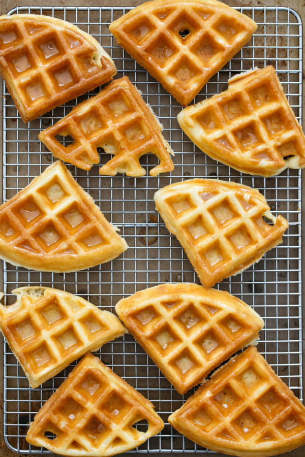 Light & Fluffy Yeast-Raised Belgian Waffles with Vanilla Glaze