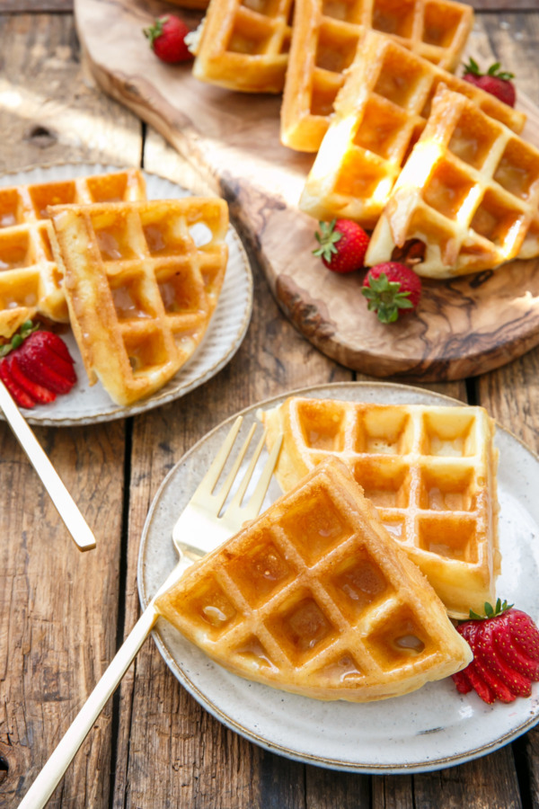 Yeasted Donut Waffles with Vanilla Bean Glaze
