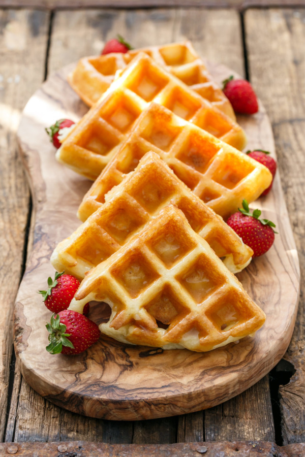 The Best Yeasted Belgian Waffle Recipe with Vanilla Bean Glaze
