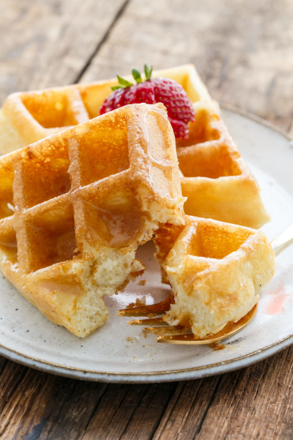 The Best Light & Fluffy Yeast Waffles with Donut Glaze