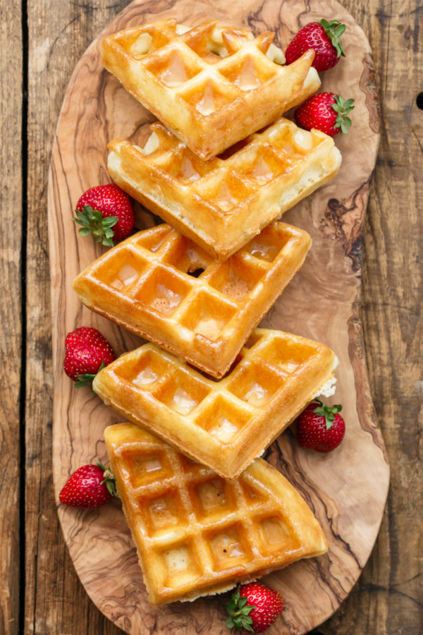 Yeast-Raised Belgian Donut Waffles with Vanilla Bean Glaze