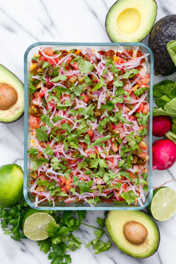 This beautiful Seven Layer Dip is the perfect party appetizer recipe!