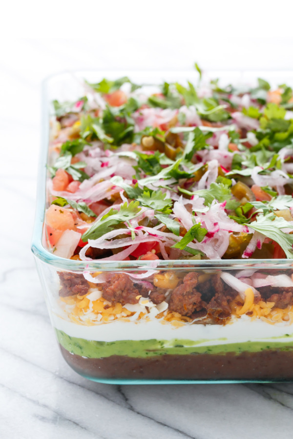 Party food done right: Seven Layer Dip with Chorizo