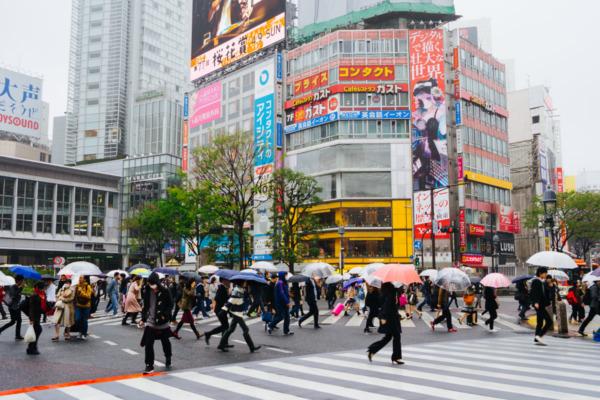 Shibuya Crossing on a rainy day, Tokyo, Japan