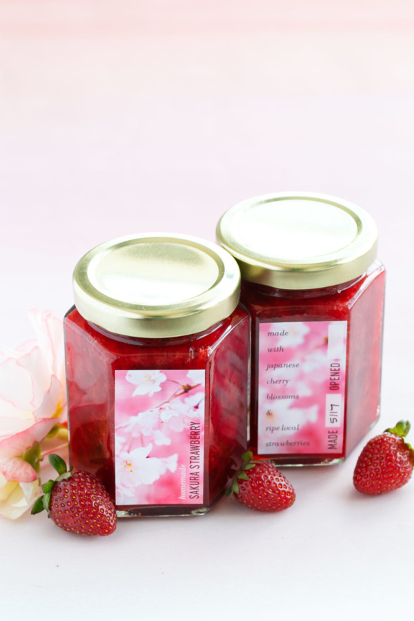 Sakura Strawberry Jam Recipe and FREE Printable Jar Labels