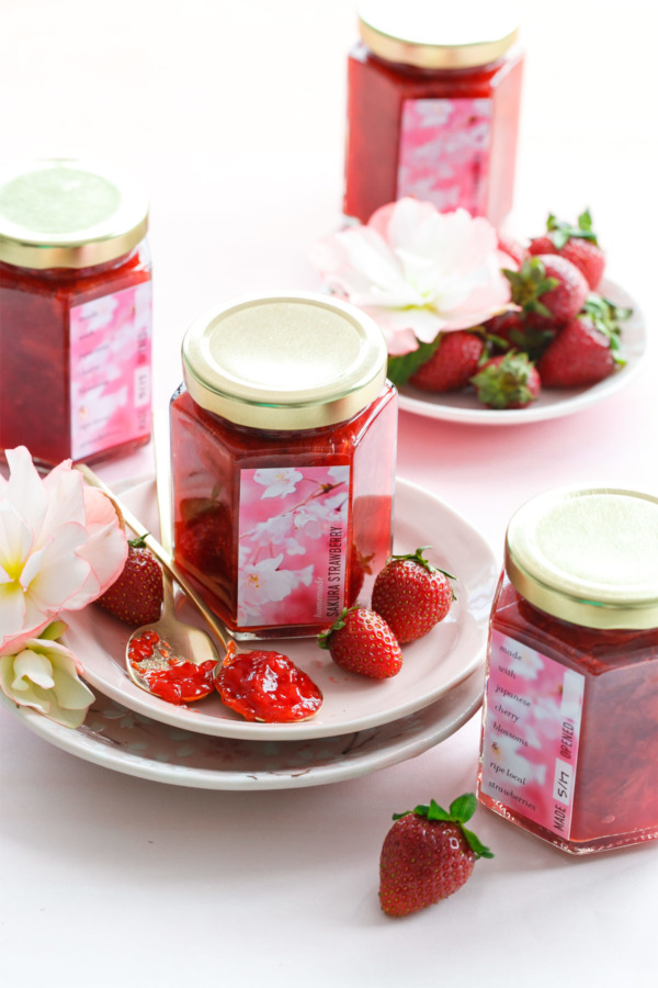 Homemade Sakura Strawberry Jam plus FREE Printable Canning Labels!