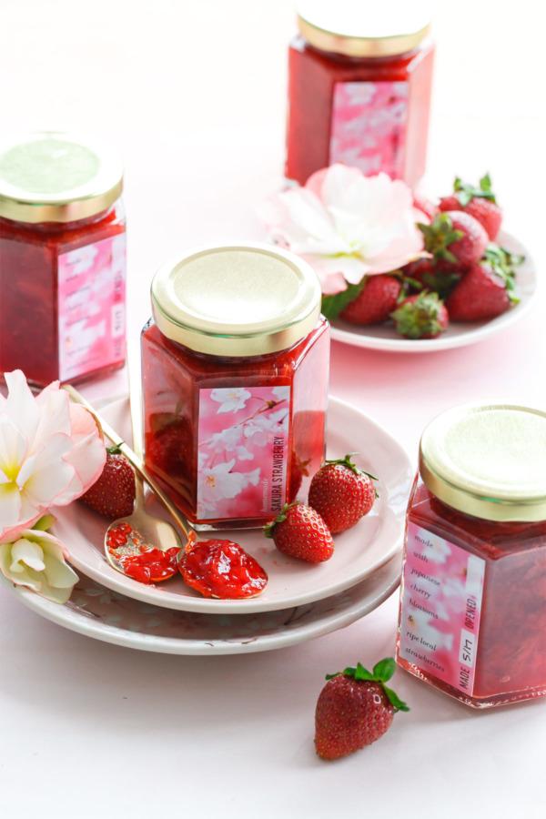 Homemade Sakura Strawberry Jam plus FREE Printable Canning Labels!