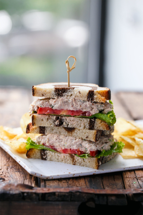 Easy lunch ideas: tuna salad sandwich on marble rye.