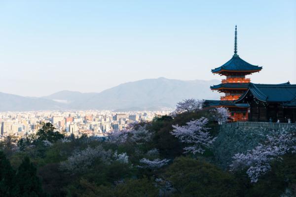 View from the Kiyomizu-dera Temple at Sunrise, Kyoto, Japan