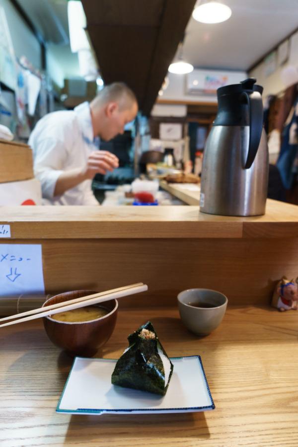 Onigiri at Aoonigiri Restaurant, Kyoto Japan