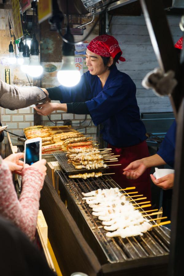 Vendor at Nishiki Market, Kyoto Japan