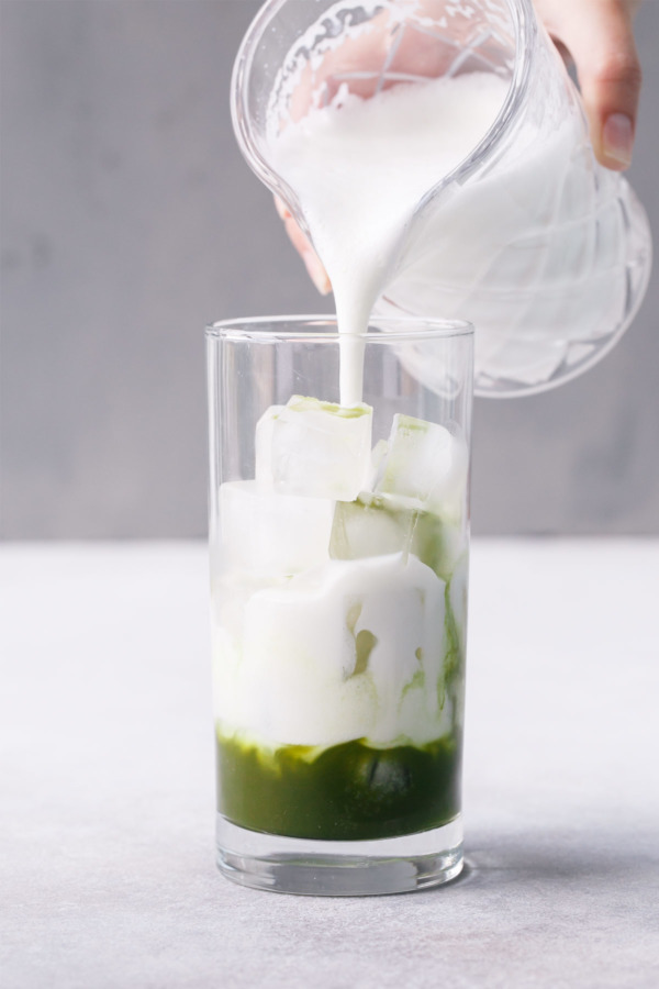 Sakura Iced Matcha with Frothed Milk