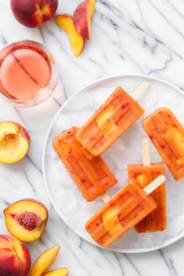 Fresh Peach & Rosé Wine Pops Recipe