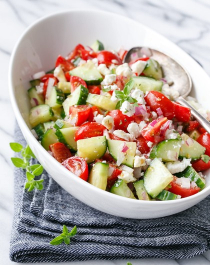 Cucumber Tomato Salad Recipe with Feta: A perfect recipe for a summer picnic!