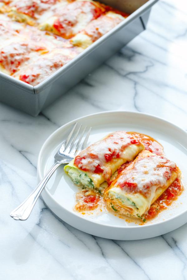 Spinach & Ricotta Zucchini Lasagna Roll-Ups Recipe
