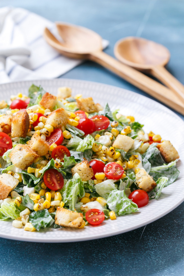 Chopped Summer Romaine Salad with Blue Cheese, Charred Corn, Cherry Tomatoes, and Homemade Croutons