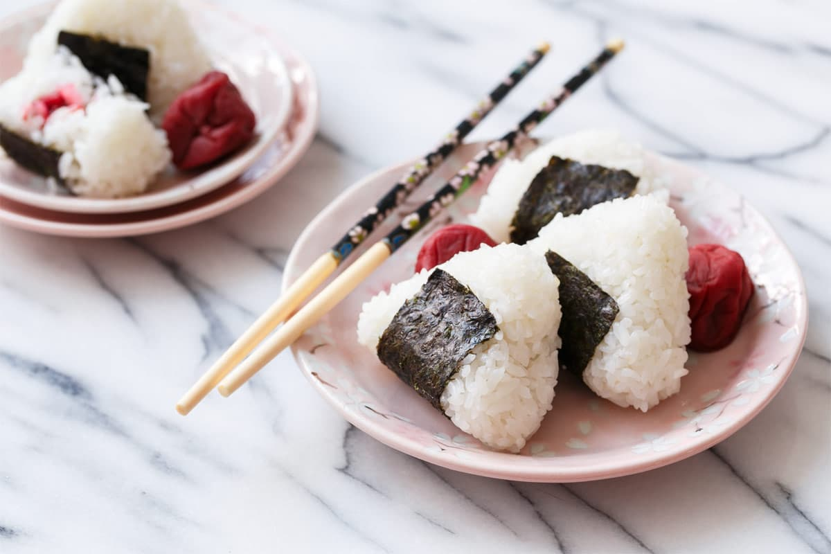 Umeboshi Onigiri Rice Balls With Japanese Salt Plums Love And Olive Oil