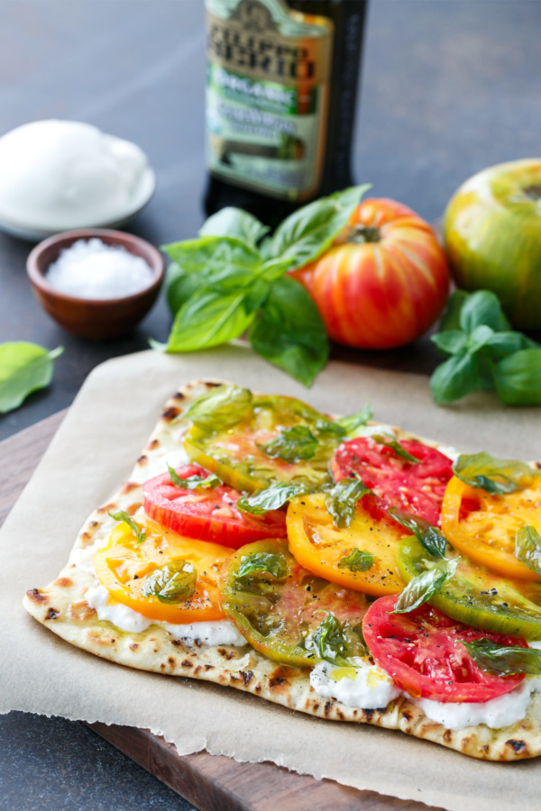Heirloom Tomato Flatbread with Fried Basil and Extra Virgin Olive Oil