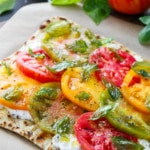 Heirloom Tomato Flatbread with Burrata and Crispy Fried Basil