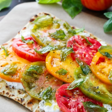 Heirloom Tomato Flatbread With Fried Basil Love And
