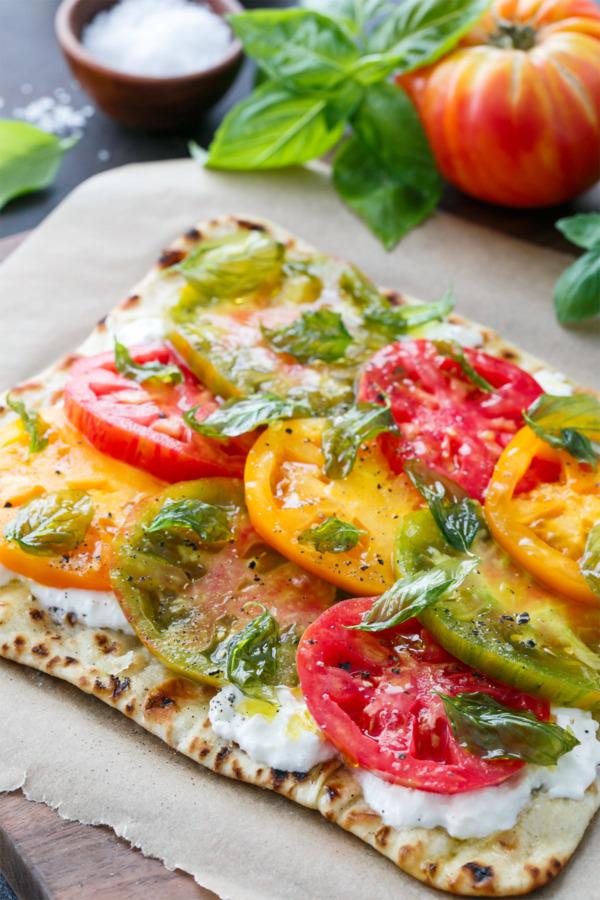 Heirloom Tomato Flatbread with Burrata and Crispy Fried Basil