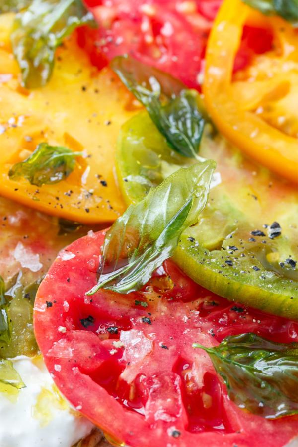 Heirloom Tomato Flatbread Recipe with Burrata Cheese and Crispy Fried Basil