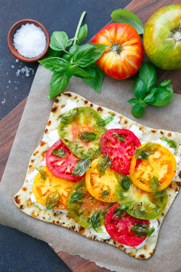 Heirloom Tomato Flatbread with Burrata and Fried Basil