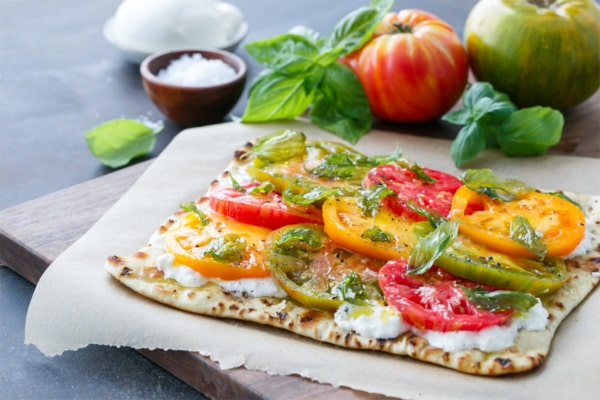 Heirloom Tomato Flatbread with Fried Basil