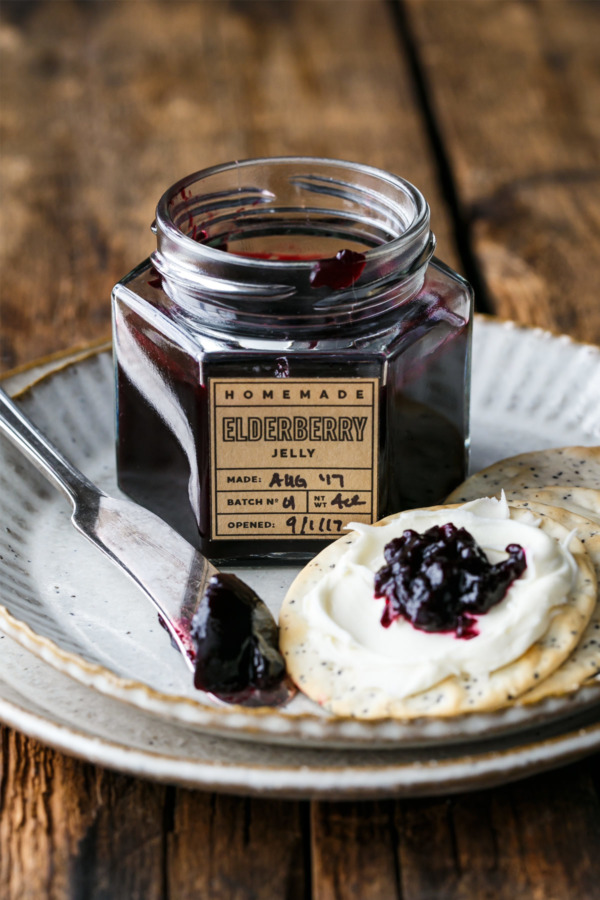 Homemade Elderberry Jelly Recipe with Free Printable Jelly Labels