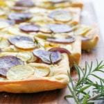 Authentic Italian Focaccia Bread Recipe topped with Potato & Rosemary