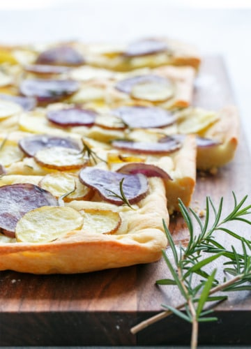 Authentic Italian Focaccia Bread Recipe topped with Potato & Rosemary