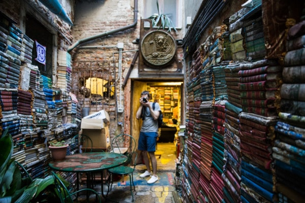 Libreria Acqua Alta in Venice Italy: The world's most picturesque bookstore.