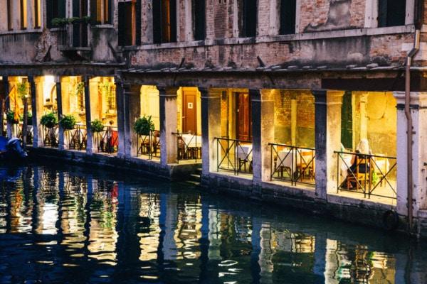 Nighttime canal scene, Venice Italy
