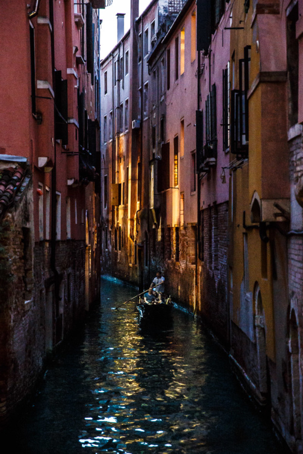 Gondola at night, Venice, Italy