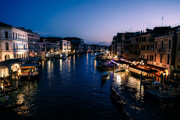Nighttime reflections on the Grand Canal, Venice Italy