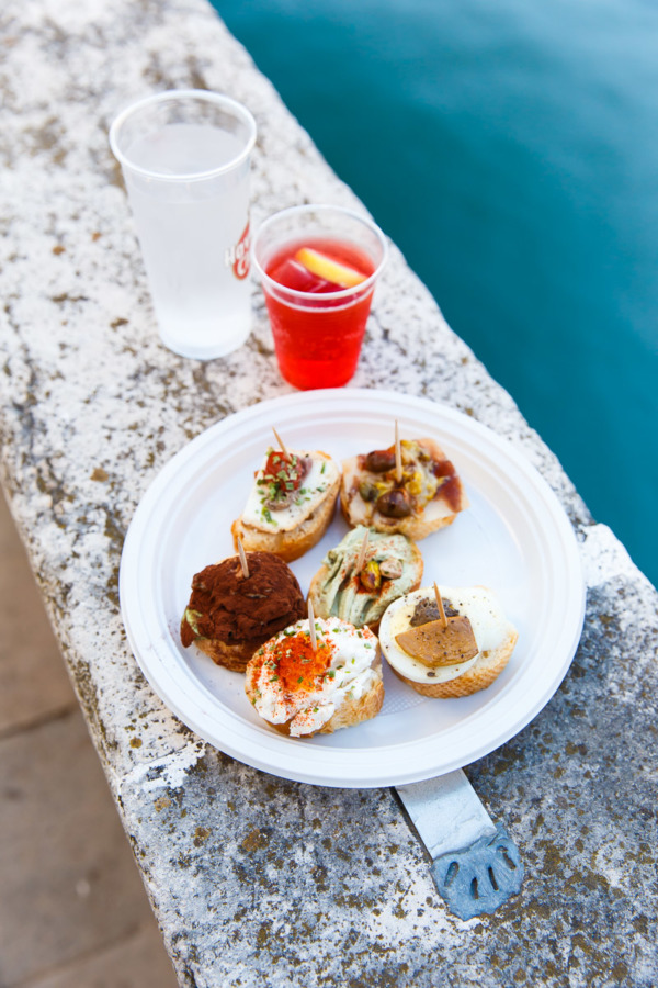 Cicchetti along the canal, Dorsoduro neighborhood, Venice Italy