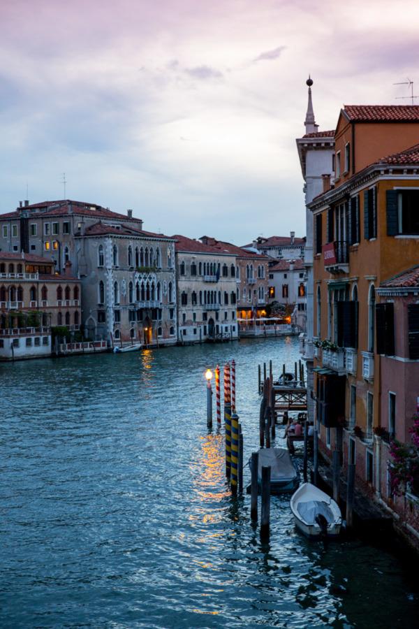 Dusk along the Grand Canal, Venice, Italy