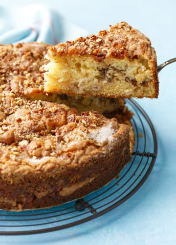 Nutty Sour Cream Coffee Cake with Honeycrisp Apples and Pecans