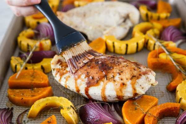 Apple Cider Glaze Recipe for roasted chicken breasts and fall vegetables.