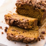 Sweet Potato Bread with Pecan crumb topping and cinnamon swirl