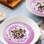 This naturally purple soup recipe is made from purple Cauliflower and purple sweet potatoes